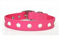 Classic Solid Spike Design PVC Rubber Dog Collar in Pink XLarge -- For more information, visit image link. This is an Amazon Affiliate links.