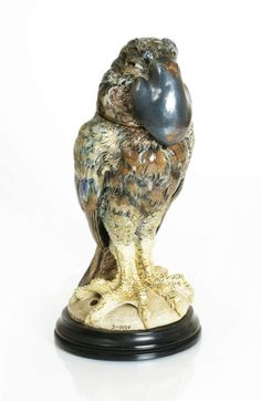 "Martin Brothers bird sculpture from 1898. The Martin Brothers were English potters well known for their whimsical but highly skillful creations. Their ""Wally Birds"" are now selling at record prices at antique auctions. #EuropeanAntiques #WallyBirds"