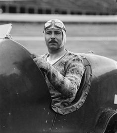 """1925: Racing driver in a sweater   from Retronaut: """"The driver is William """"Doc"""" Shattuc, and his car is a Miller"""""""