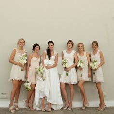 {Neutral Rustic Wedding} This bride has great taste & selected a gorgeous collection of mismatched neutral bridesmaid dresses.