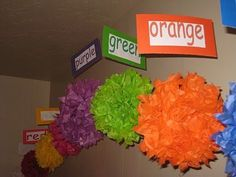 Great way to do colors in my classroom! So cute for the art center!!! I wish we could hang things from the ceiling! #childcareideas