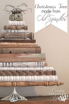 Vintage style Christmas tree made from old spindles | countrydesignstyle.com