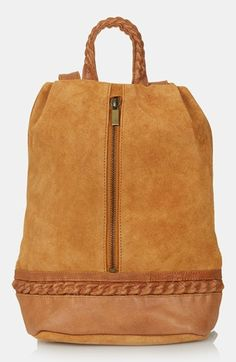 Topshop Suede Zip Backpack available at #Nordstrom