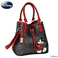 """Disney """"Forever Mickey Mouse"""" Women's Handbag - Faux leather handbag with custom Mickey Mouse print, Mickey Mouse signature luggage tag. Drawstring and snap closure, outside phone pocket, more. Fashion Handbags, Purses And Handbags, Fashion Bags, Leather Handbags, Luxury Handbags, Cheap Handbags, Balenciaga Handbags, Hobo Handbags, Leather Purses"""