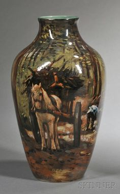 Gouda High Glaze Pottery Landscape Vase | Sale Number 2554B, Lot ...
