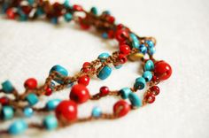 Crocheted necklace bracelet   Red and turquoise by TomBjornDesigns.