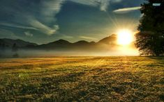 Sunrise over field Wallpaper from Nature. amazing morning sun rising over the hills illuminating a field 2k Wallpaper, Sunrise Wallpaper, Field Wallpaper, Mountain Wallpaper, Amazing Wallpaper, Wallpaper Maker, Windows Wallpaper, Black Wallpaper, Art Clipart