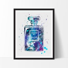 Coco Chanel Perfume Bottle Watercolor Art. This art illustration is a composition of digital watercolor images and silhouettes in a minimalist style.