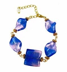 """Bracelet - B59 - Murano Style Glass - Twists & Square ~ Blue and Pink Serenity Crystals, Inc.. $11.95. Made with beautiful Murano style twists and square shaped glass beads.. Absolutely gorgeous!!. Easy to wear!. Bracelet measures 7"""" with 2"""" extension chain in a gold tone setting."""