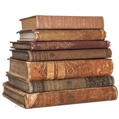 Set of 1800's Brown Tan & Gold Old Books for Decor Book
