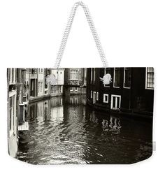 Jenny Rainbow Fine Art Photography Weekender Tote Bag featuring the photograph Rhythms Of Amsterdam Reflections. Black And White by Jenny Rainbow