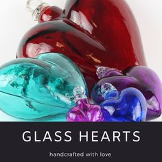 These stunning hearts are made entirely from hand blown glass. Each piece is individually crafted and we have a beautiful assortment of colors and sizes to choose from. Mexican Home Decor, Hand Blown Glass, Home Decor Items, Hearts, Colors, Beautiful, Colour, Blown Glass, Color