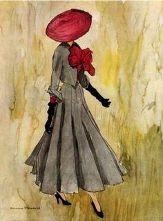 Christian Dior design. Illustration by Bernard Blossac, 1948  (viahttp://www.pinterest.com/kvinakmens/)