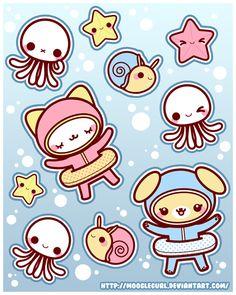 Stickers: Under Water Fun by *MoogleGurl on deviantART