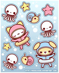 Stickers: Under Water Fun by *MoogleGurl on deviantART