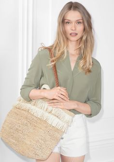 & Other Stories image 2 of Classic Silk Shirt in Khaki Green