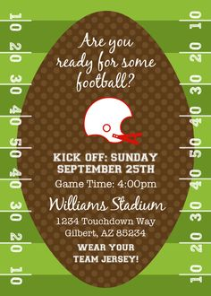 Football or Tailgating Birthday Party or Shower - Printable Invitation by Fresh Chick Designs. $12.00, via Etsy.