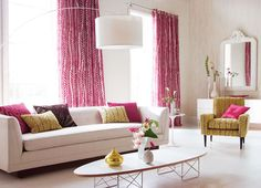 """Fushia and Pale Lime.  Great combination.  I am using similar colours to brighten up a client's """"rather beige"""" drawing room."""