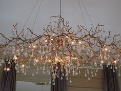 Branch Chandelier, Glass Chandelier, Chandelier Lighting, Chandeliers, Backyard Lighting, Barn Lighting, Red Lamp Shade, Dining Table Lighting, Driftwood Lamp