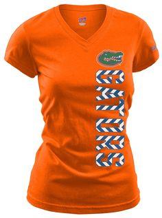 "Florida Gators T-Shirt With Vertical ""Gators"" in Chevron Print #BeallsFlorida #GoGators"