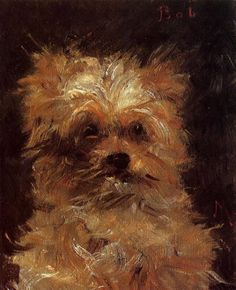 """""""Head of a Dog, 'Bob'"""" (circa by French artist - Édouard Manet Oil on canvas, Dimensions unknown, Private collection. Renoir, Monet, Edouard Manet Paintings, Dog Portraits, Animal Paintings, Artwork Paintings, Canvas Artwork, Famous Artists, A4 Poster"""