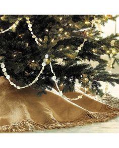 Fringed Burlap Tree Skirt- 72 in. - Burlap Chocolate - Ballard Designs