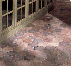"Ann Sacks - Antique Terra Cotta Tiles in 6"" hexagon...great for a bath or kitchen"