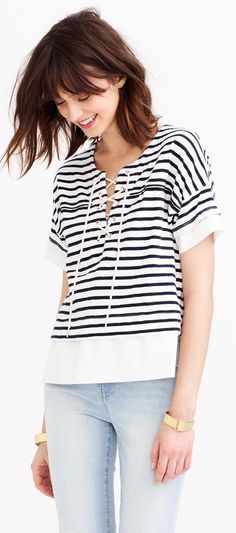 We could wear this J.Crew Swingy lace-up sailor tee ($68) everyday!