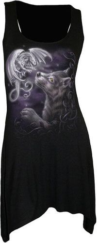Pinner before: Spiral Direct Mystical Encounters Wolf & Dragon Viscose Black Vest Dress | eBay