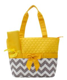 Yellow and Grey Chevron Quilted Diaper bag  tote purse with changing pad and Cosmetic Case Personalized
