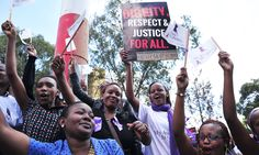 Hundreds of women have turned out on the streets of the Kenyan capital today to defend their right to wear what they choose after a woman was stripped and beaten for wearing a miniskirt.