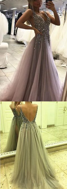 Sexy Side Split Prom Dress,Sleeveless Tulle Evening Dress,Long Party Dress,Backless Beads Prom Dresses,High Slit Prom Gowns,Prom Dresses RE43 #vneck #sideslit #beads #sexy #promdress #partydress #long #elegant