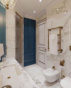 ☕ Доброе воскресное утро! ⭐Люблю открывать вкусные сочетания цветов и давать им жизнь в своих интерьерах💛 Мою страсть к оттенкам синего… Royal Bathroom, Glamorous Bathroom, Best Bathtubs, Luxury Bathtub, Hallway Designs, Interior Concept, Bathroom Renos, Dream Bathrooms, Bathroom Interior Design