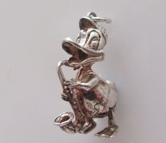Large Silver Donald Duck Charm by TrueVintageCharms on Etsy