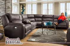 Dazzle Power Reclining Sectional with Console and Power Headrests by Southern Motion Furniture - Home Gallery Stores Sectional Sofa With Recliner, Leather Sectional Sofas, Reclining Sectional, Modern Sectional, Recliners, Couches, Iron Furniture, Amish Furniture, Living Room Furniture