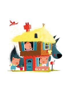 three little pigs and one wolf; by Coralie Vallageas Illustration Mignonne, Children's Book Illustration, Illustration Children, Painting For Kids, Art For Kids, Pig Drawing, Three Little Pigs, Nursery Art, Cute Art