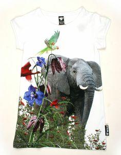 White Maxy dress with elephant - WILD