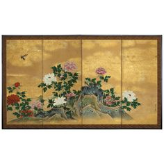 Birds and Peonies Four-Panel Folding Screen | From a unique collection of antique and modern paintings and screens at https://www.1stdibs.com/furniture/asian-art-furniture/paintings-screens/