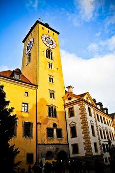 Altes Rathaus Clock in Regensburg Germany