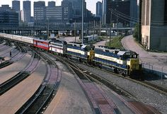 The private American Orient Express leaves Chicago Union Station and enters Amtrak's coach yard in June 1991