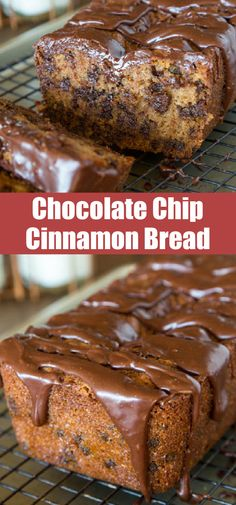 Chocolate Chip Cinnamon Bread is the perfect gift or treat this holiday season. A quick bread with tons of cinnamon flavor, chocolate chips and topped with a chocolate glaze. Best Homemade Bread Recipe, Easy Bread Recipes, Quick Bread, Baking Recipes, Cupcake Recipes, Cupcake Cakes, Dessert Recipes, Cupcakes, Chocolate Glaze