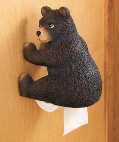BEAR WOODLAND BOOTY TOILET PAPER HOLDER LOG CABIN LODGE BATHROOM HOME DECOR #Unbranded