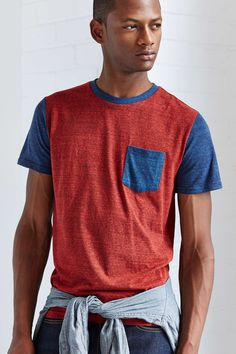 BDG Slim-Fit Triblend Colorblock Pocket Tee