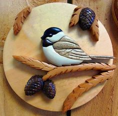 Intarsia Chickadee Wall Plaque от Colorfulimpressions на Etsy