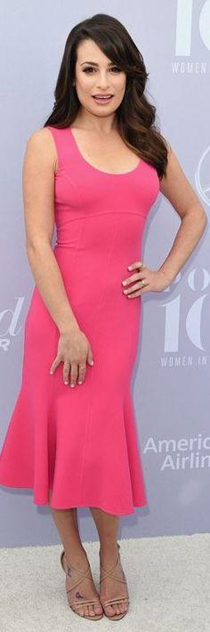Lea Michele: Dress – Michael Kors  Shoes – Christian Louboutin  Earrings and ring – Phillips House  Rings – TACORI