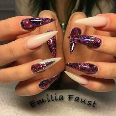 Purple glitter and natural stiletto nails