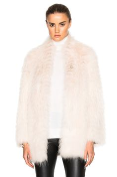Yves Salomon Asiatic Racoon Jersey Jacket in Nude & Blush | FWRD