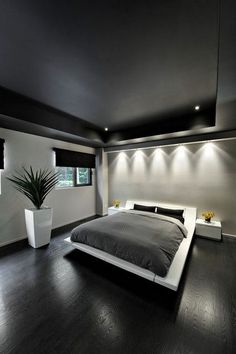 Modern master bedroom design - 48 Modern Tiny Bedroom With Black And White Designs Ideas For Small Spaces – Modern master bedroom design Black And Grey Bedroom, Grey Bedroom Decor, Modern Master Bedroom, Modern Bedroom Design, Master Bedroom Design, Minimalist Bedroom, Contemporary Bedroom, Minimalist Apartment, Bedroom Designs