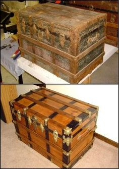 Restored steamer trunk - I have one very similar to this. Refurbished by my husband's grandma as a Christmas present for me. The last one she did before she passed away.