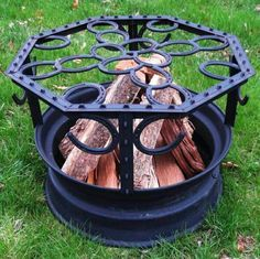 Camp fire ring. Horse shoes.